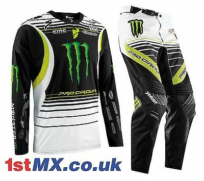 "Thor Core Pro Circuit Monster Energy MX Motocross Gear Kit Adult 32"" Large"