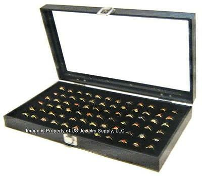 2 Glass Top Lid 72 Ring Black Showcase Jewelry Display Organizer Boxes Cases