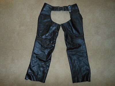 BROOKS VINTAGE LEATHER MOTORCYCLE CHAPS MADE IN USA CIRCA 1970's SIZE MEDIUM