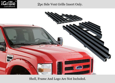 Fits 2008-2010 Ford F250/F350/F450/F550 Black Side Vent Grille Grill Insert