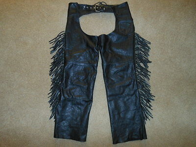 Steer Brand Vintage Fringed Leather Motorcycle Chaps Made In Usa Size Medium