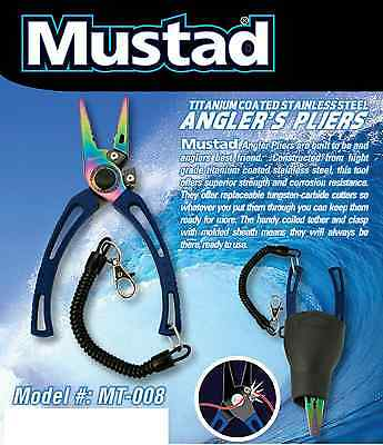 Mustad MT008 7.5'' Stainless Steel Pliers with Rubber Holster Titanium Finish