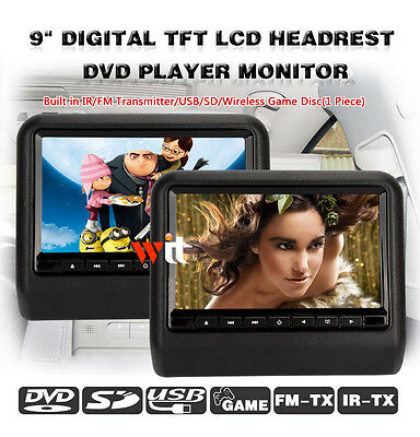 """2x9""""HD Headrest LCD Car Monitor DVD Player Built-in Speaker Support USB SD Game"""