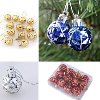 12pcs Christmas Ornament Shiny Mirror Bauble Balls Hanging Xmas Tree Decoration