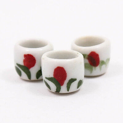 Painted Cups 10mm Cute Craft Dollhouse Miniature Ceramic Food Supply Deco A1134