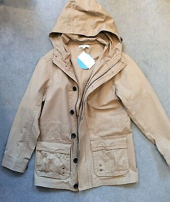 M&S 3/4 LENGTH STONE JACKET IN COTTON WITH POCKETS & HOOD - AGE 9-10y - BNWT