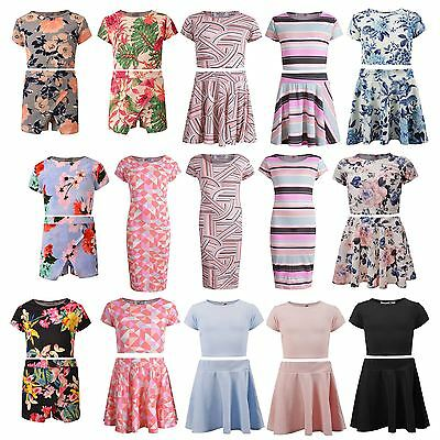New Girls Crop Tank Top Vest And Skirt Set Kids Mini Dress Party Outfit Age