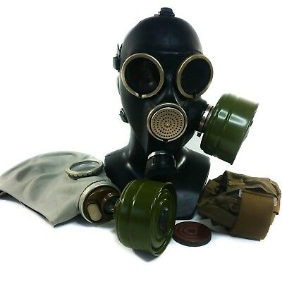 Lot of 2 Soviet Russian gas masks GP-7 & GP-5 Kits black grey respiratory NEW