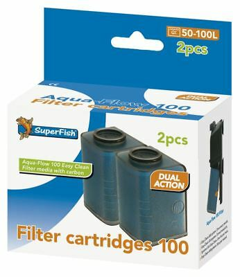 Superfish Aqua Flow 100 Easy Click Aquarium Filter Cartridge x 2 Replace Media