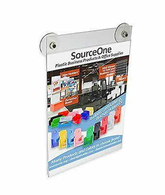Source One 8 1/2 x 11 Inches Sign Holder Glass Window Mount with 2 Suction Cups