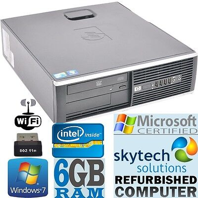 Fast HP Windows 10 PRO Cheap Computer Desktop PC 6GB 250GB Dual Core DVD WiFi