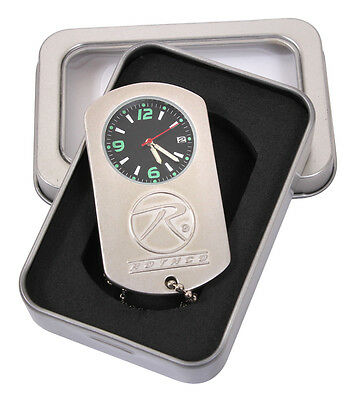 Zinc Alloy Army Military Style Dog Tag Silver Chain Pocket Watch in GIFT BOX