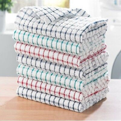 2 X Extra Large Jumbo Terry Cotton Multi Tea Towel Kitchen Dish Check Cloths