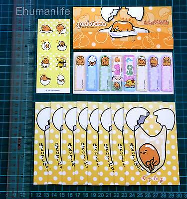 Sanrio Gudetama Sticky Note Memo Post-it Bookmark 120sheet & 8pcs Mini Envelope