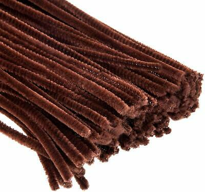 New Chenille Craft Pipe Cleaners BROWN Chenille Stems 30cm By 6mm Pack Of 50