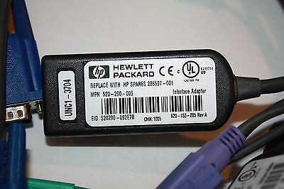 Lot of qty 7 HP PS/2 KVM IP CAT5 Interface Adapter Cable 286597-001 396632-001