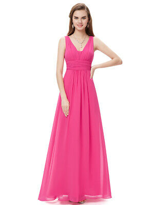 US Ever Pretty Women Long Maxi Bridesmaid Dresses V Neck Evening Gowns Prom 8110