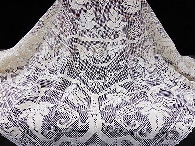 Antique Woven Linen Figural Filet Lace Tablecloth-60""