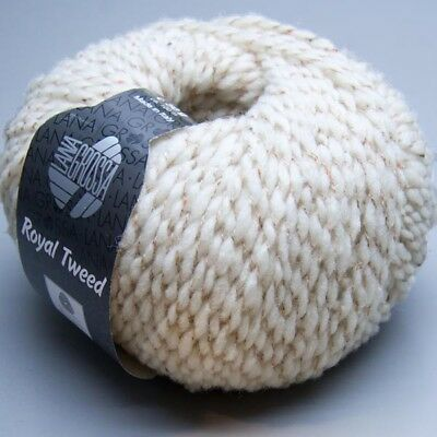 Lana Grossa Royal Tweed 029 oyster white 50g Wolle (11.00 EUR pro 100 g)