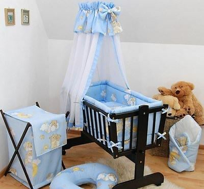 7 Piece Baby Crib Bedding Set Fits Nursery Rocking Swinging Cradle Ladders Blue
