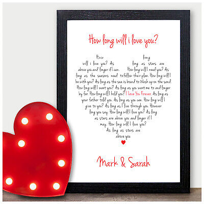 Valentines Gifts for Him and Her - How Long Will I Love You Lyrics PERSONALISED