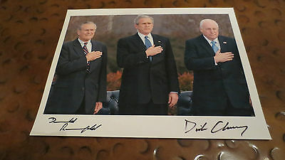 Dick Cheney & Donald Rumsfeld signed autographed photo GOP conservartive patriot