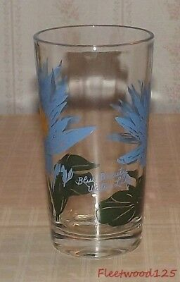 """Vintage Boscul Peanut Butter Glass Tumbler 5"""" Tall - Blue Beauty Water Lily"""