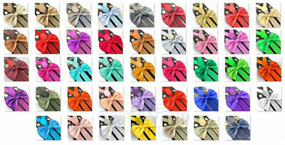 Adults Unisex Wedding Formal Wear Accessories 23 Styles Bow Tie Suspenders Combo