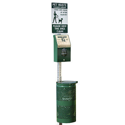 Dogipot Station with Header Pak Bag Dispenser, Alum 10 gal Receptacle, 1003HPA-L
