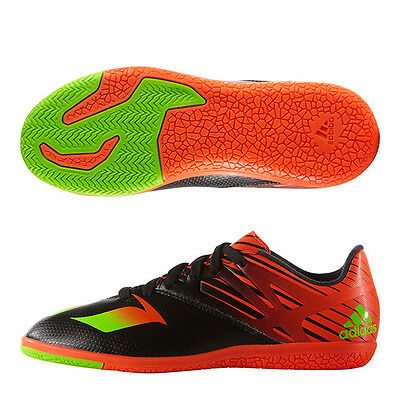 ADIDAS MESSI 15.3 IN INDOOR FUTSAL YOUTH SOCCER SHOES Core Black/Neon Green/Inf