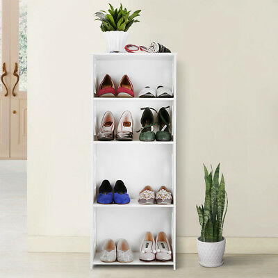 4-Tier Modular Wooden Shoe Shelf Rack Stand Bookcase Storage Organizer Cabinet