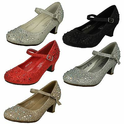 Spot On Girls Round Toe Low Heel Sparkly Glittery Bridesmaid Party Shoes H3R046
