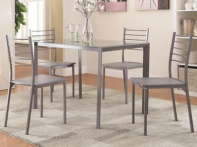 5 Piece Glass Top and Gray Finish Metal Dining Set by Coaster 100027