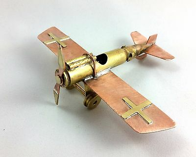 Trench art WWI German brass aircraft junkers D1. Made from wwII ammo
