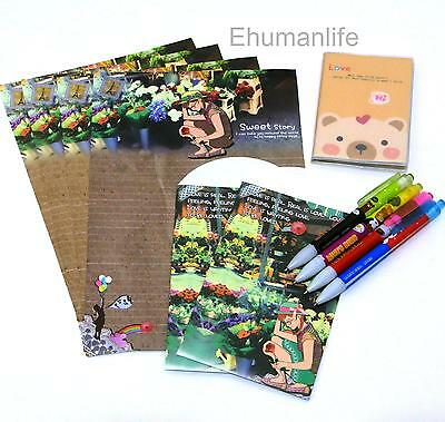 Stationery Set Letter Sheet 4p Envelope 2pc Mini Notebook 1pc Retractable Pen 4p