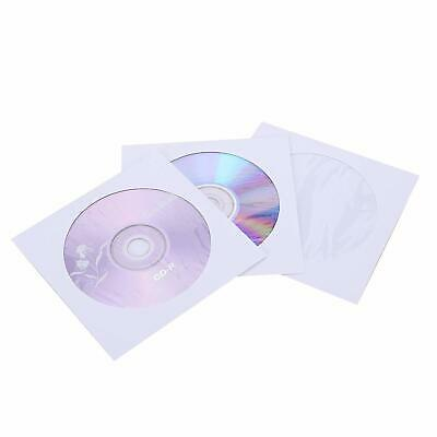 100 120g CD DVD R Disc Paper Sleeve Envelope Clear Window Flap - White