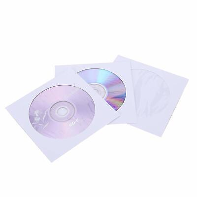 100 80g CD DVD R Disc Paper Sleeve Envelope Clear Window Flap - White