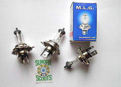 3 HALOGEN 12v BULBS FOR VESPA PX DISK SCOOTER + MANY OTHER SCOOTERS,CARS + BIKES
