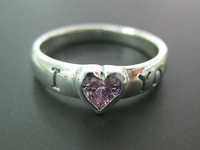 "REAL 925 sterling silver Childrens kid PINK cz ""I love (heart) you"" BABY RINGS"