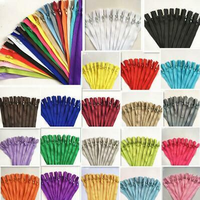 10/50/100pcs Nylon Coil Zippers Tailor Sewer Craft 8-16 Inch (20-40cm)Crafter's
