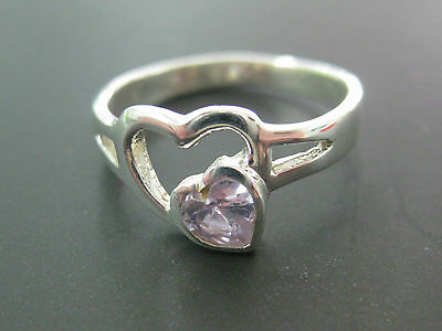 REAL sterling silver Children's kid PURPLE cz double HEART RING - 925 STAMPED