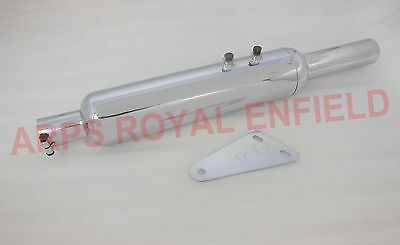 New Aew Royal Enfield Short Bottle  Exhaust Silencer With Glasswool Hq Chrome