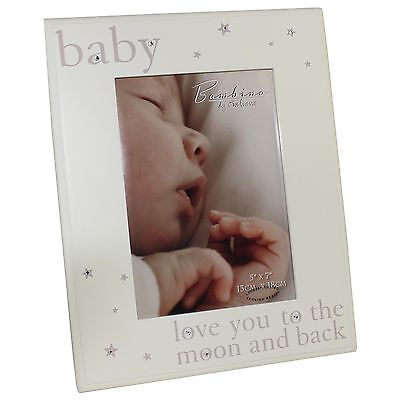 "Bambino Solid Wood Photo Frame with Crystals `Love You` 5"" x 7"""
