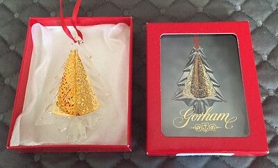 Gorham - Vintage Crystal w Brass Accents Christmas Tree Ornament in Original Box