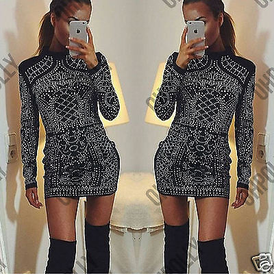 Womens Velvet Silver Studded LBD Cocktail Party Evening Ladies Mini Dress