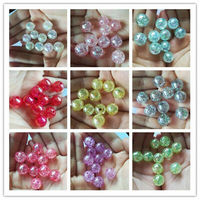20pcs Crackle Glass Round 12mm Beads Jewelry Findings Craft Bead Supply (MIX)