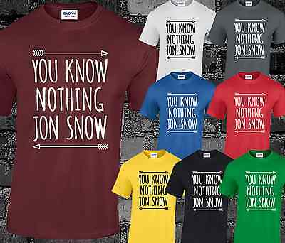 You Know Nothing Mens T Shirt Jon Snow Stark Lannister Game Of Thrones Top Cool