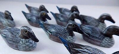 GRAY BLUE TAIL Duck Decoy Wooden Carved Ornaments Hand Painted Flock 10 Lot