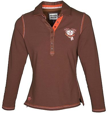Toggi Carrie ladies Long Sleeve Stretch Polo Top mocha brown