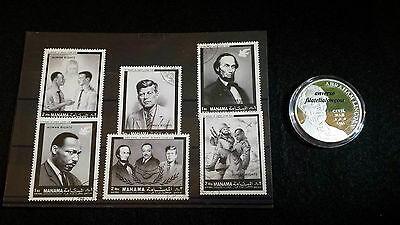 Pack Sellos y Moneda Lincoln Kennedy Martin Luther King